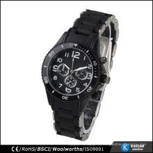 Reloj de acero inoxidable reloj de color negro hombres impermeable
