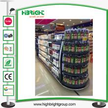 Estantería de exhibición de metal del supermercado con la caja de luz
