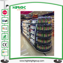 Supermarket Metal Display Shelf with Light Box