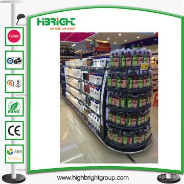 Prateleira de exposição do metal do supermercado com caixa leve