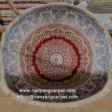 5'x5' Handwoven Pure Silk Round Antique Persian Rug