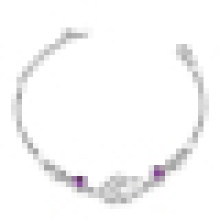 Bracelet en argent 925 double coeur double incrustation de cristal pour femme