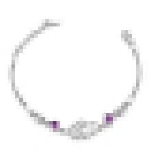 Женщин 925 стерлингового серебра Двойное сердце двойной Цвет Браслет инкрустация Кристалл