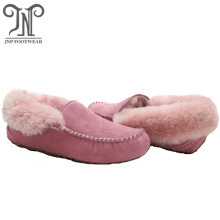 warm fluffy moccasin ankle slippers for women