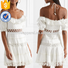 White Linen And Cotton Crochet Short Sleeve Mini Summer Dress Manufacture Wholesale Fashion Women Apparel (TA0248D)