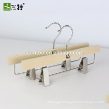 brand kids wooden pant hanger with bottom clips
