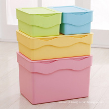 Wave Design Caixa de recipiente de armazenamento de plástico colorido para armazenamento