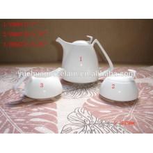 Jarra de té de cerámica blanca turca conjunto con recipiente de azúcar y olla de leche