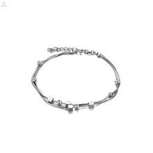 Últimos diseños de cadena de tobillera, joyas tobilleras de plata de platino delgadas