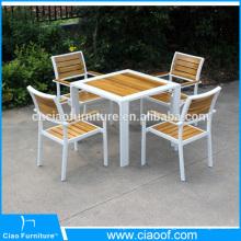 Grupo exterior de madeira da mesa de jantar da mobília da teca nova do projeto