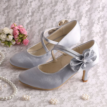 Mary+Jane+Silver+Wedding+Heels+with+Bows