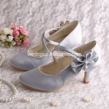 Mary Jane Silver Wedding Heels with Bows