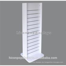 Metall abnehmbare Haken weiß lackiert doppelseitig Holz freistehende Lamellen Wand Display Ständer mit Rädern