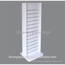 Metal Detachable Hooks White Painted Double Sided Wood Freestanding Slat Wall Display Stands With Wheels