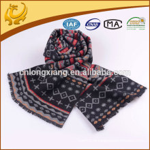 Jacquard Design Silk Material Woven Thick Winter Scarf para homens