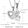 coração de moda em forma de colar pingente de casais de amor