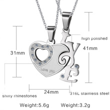 fashion heart shaped necklace LOVE couples pendant