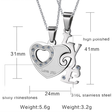 fashion heart shaped necklace LOVE couples pendant