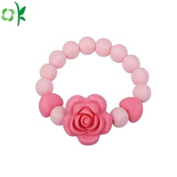 BPA Free Flower Silicone Beads Bracelet for Baby/Girls