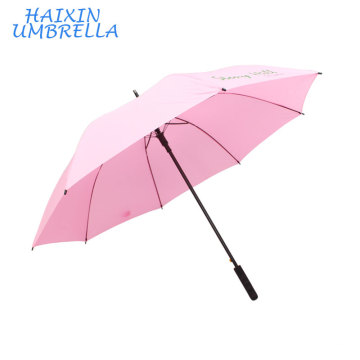 Luxury Quality Business Pongee 190T Long Shaft Automatic Type Custom 70cm Pink Golf Umbrella with Logo Printing