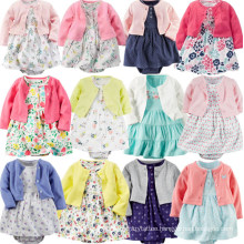 2PCS Autumn Long Sleeve Floral Baby Girls Rompers Dress Sets Princess Dresses Set Infant Clothing Baby Clothes Set for Girls