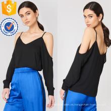 Ajuste flojo negro con cuello en v manga larga de verano de la fabricación de la ropa al por mayor de las mujeres de la manera del hombro (TA0072T)