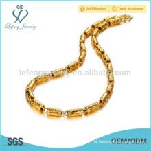 Ouro colar de corrente chunky, colar indiano jóias de ouro 18k