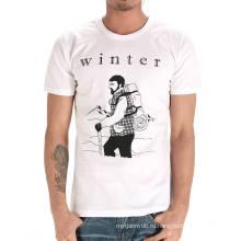 Пользовательские Высокое Качество Хлопок Мода Шею Белый Дешевые Мужские Футболки