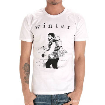 Top Qualité Personnalisé Coton Mode Col Rond Blanc Pas Cher Hommes T-shirt