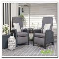 Audu - Sillón reclinable negro de 3 piezas Comfort Wicker