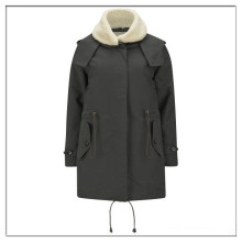 OEM faux shearling neck winter ladies parka