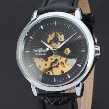 mininalist men watch with visible mechanism dial