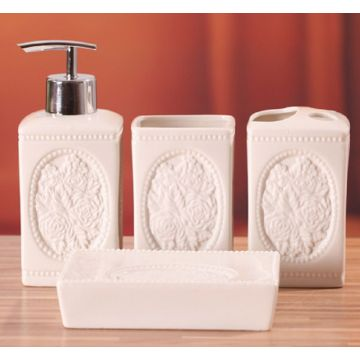 4 PC Of Engraved Ceramic Bath Set