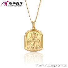 32146 Chaîne de pendentif de bijoux en or 18k plaqué or humain de la mode en cuivre environnemental
