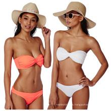 Traje de baño de la chica joven del bikiní del bikini del sexo caliente del color puro traje de baño del bikini del triángulo puro