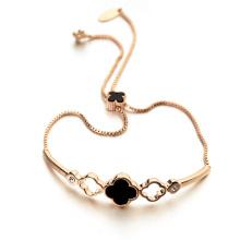 Hot item promotional clover bracelet genuine shell stretch happiness clover bracelet jewelry
