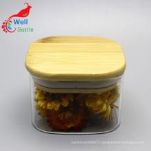 wholesale square storage jars borosilicate glass jar with bamboo lid Storage-144RL