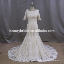 Ball gown crystal beading long sleeves wedding dress with lace coat