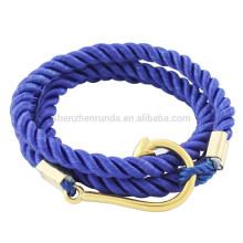 Vente en gros Hommes Accessoires Mode Acier inoxydable Crochet de poisson d'or avec ancre de marin Bracelets de corde de marine Bijoux