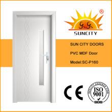 Porta impermeável do PVC MDF do preço barato com vidro (SC-P160)