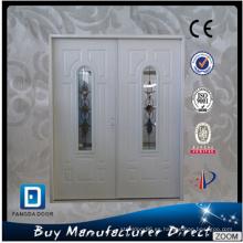Puerta de entrada doble de acero comercial con vidrio