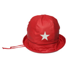 Star Solid Red PU Rain Hat with Strap for Children