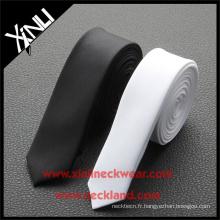 Cravate fine en soie pour homme en soie noire cravate blanche