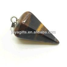 6 Side Cone forma Tiger Eye colgante colgante de piedras preciosas semi