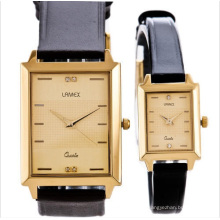 Water Resistant Japan Movement Square Couple Watch