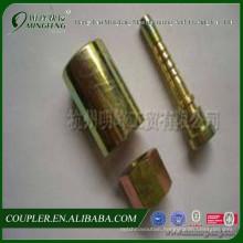 Straight hydraulic fitting and ferrule
