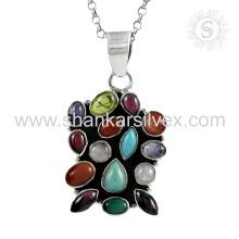 Tutti-Frutti multi gemstone silver charms handmade jewelry 925 sterling silver pendants jewellery wholesaler