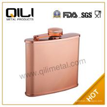 Оптовые продажи 6 унций фляга никелированная медь из нержавеющей стали