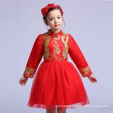 La más nueva ropa con estilo de la bola roja vestidos de fiesta a granel celebración de vacaciones niñas Shinny Apparel precio de fábrica Navidad tradicional
