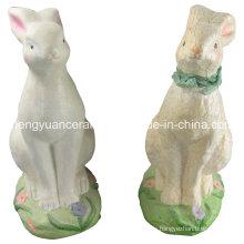 Conejo de porcelana en forma de animal, conejo de Pascua